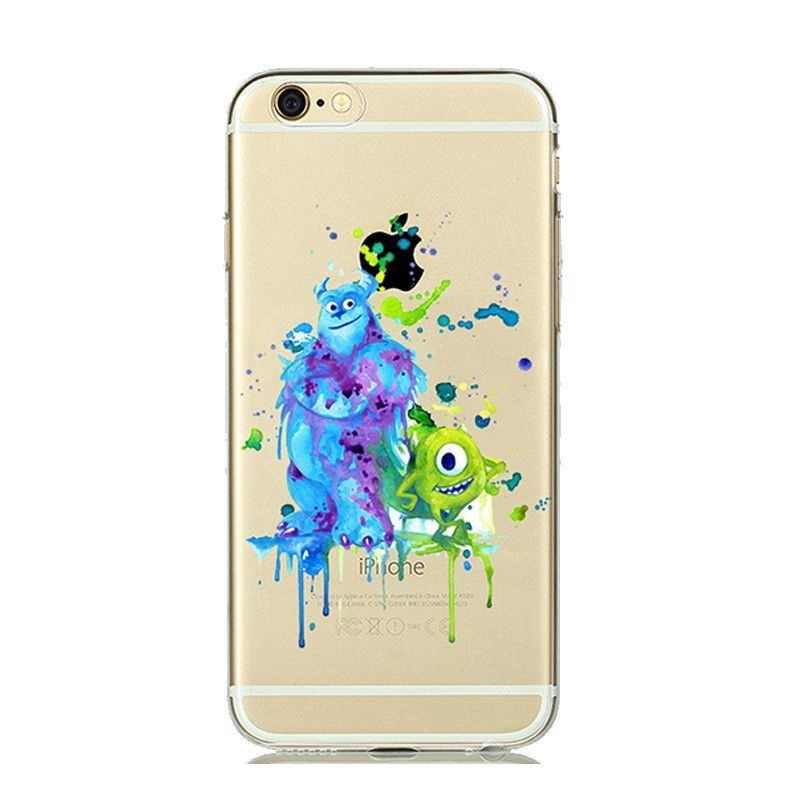 dac5235bd7e Cartoon Animal Kissing Mickey Minnie Mouse Soft Clear TPU Case for iPhone7  7 PLUS 6s 6 5s 5 Ariel little Mermaid watercolor Case