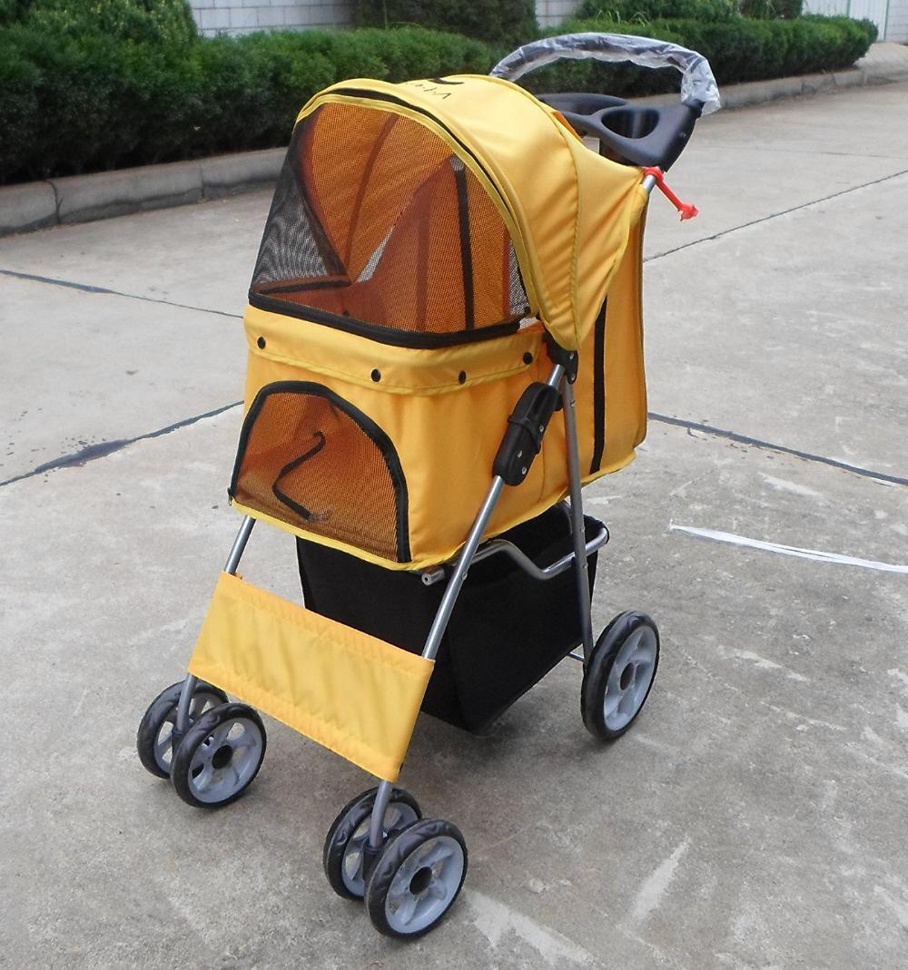 VIVO 4 Wheel Dog & Cat Stroller, Orange in