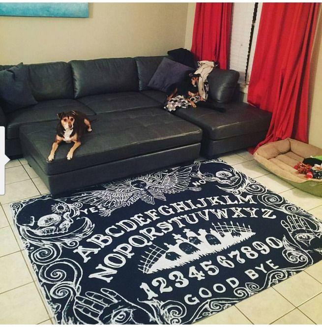 Beautiful Goth Bedrooms With Wood Floor: Ouija Board Black Area Rug 136675