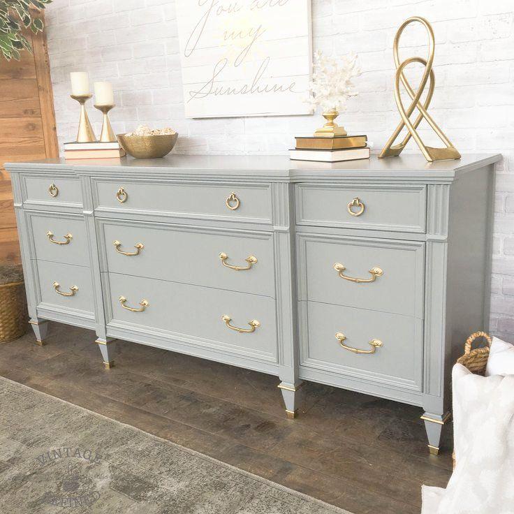 refurbished bedroom furniture grey painted dresser with gold hardware grey painted. Black Bedroom Furniture Sets. Home Design Ideas