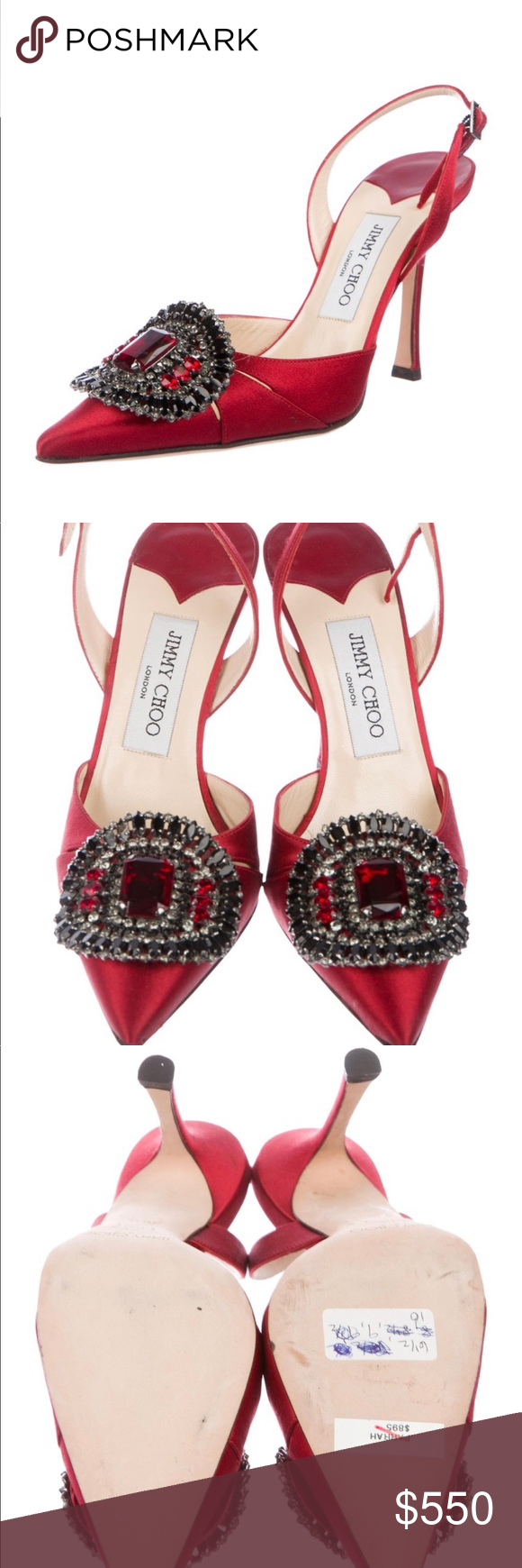 Jimmy Choo Slingback heels Satin red