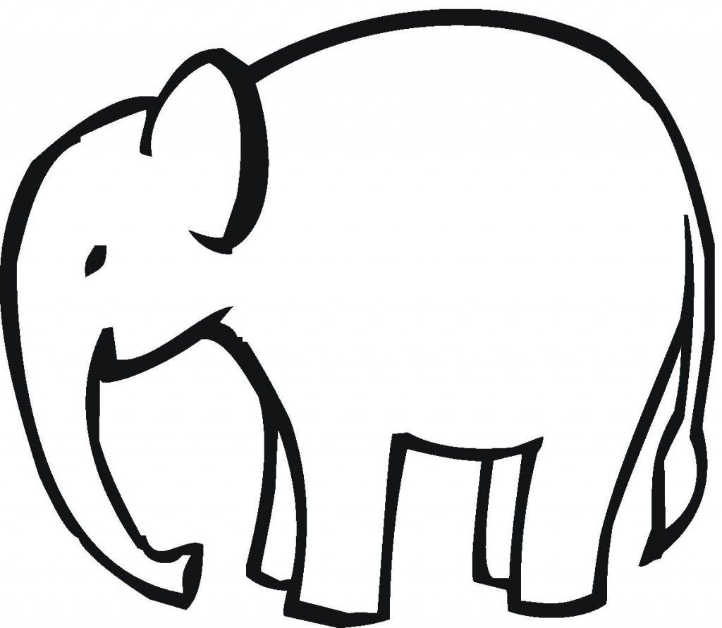 Simple Elephant Outline Applique Clipart Free Clip Art