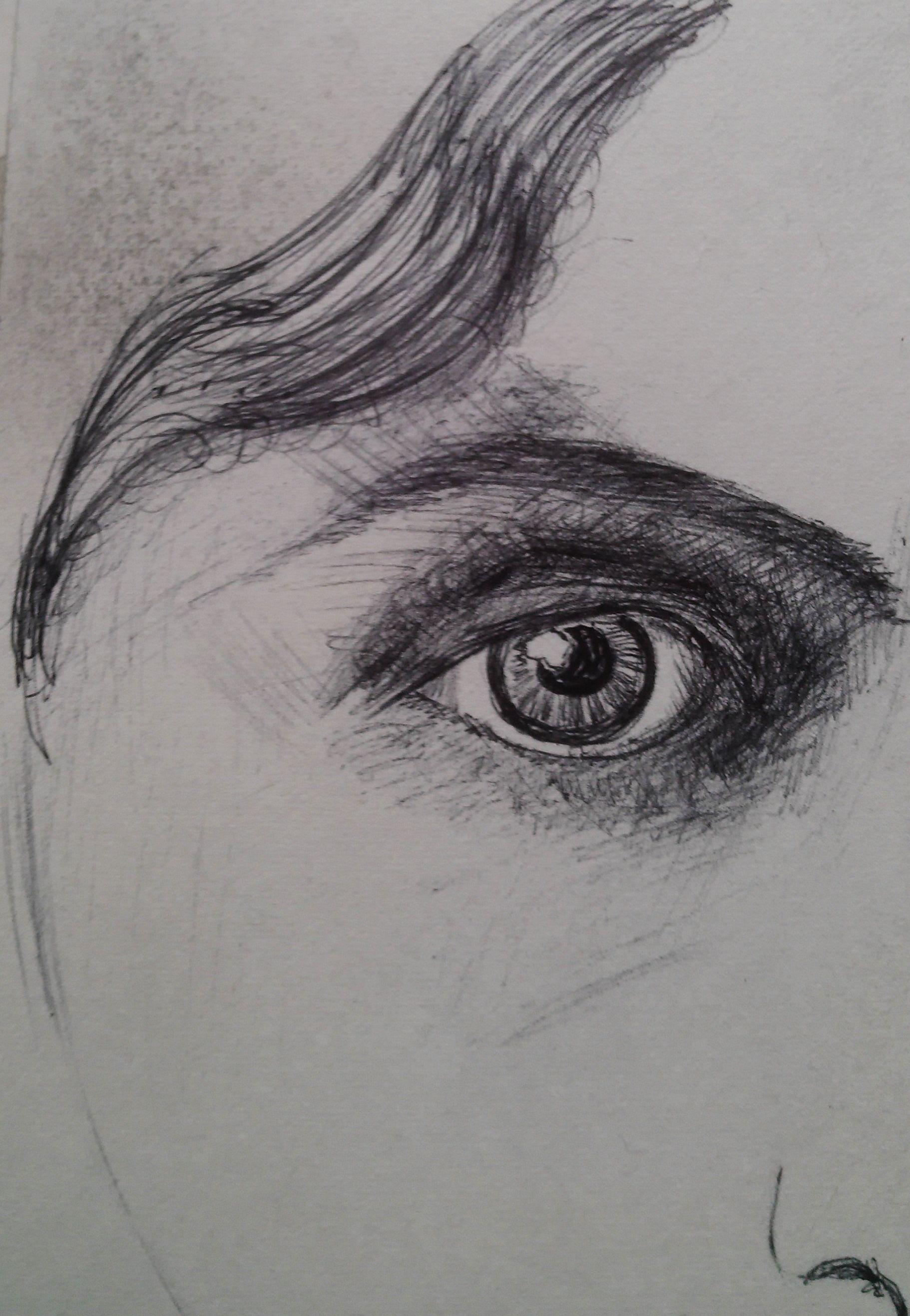 Beginning by drawing the eyes ball pen erica lowe eye