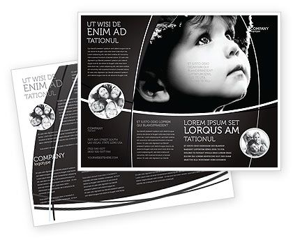 Double Sided Child In Black And White Brochure Template HttpWww