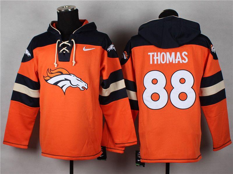 Men's Nike NFL Denver Broncos #88 Demaryius Thomas Orange Player Pullover  Hoodies