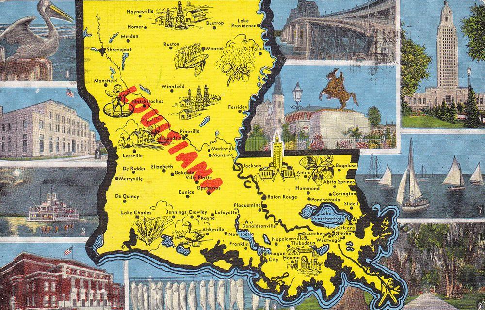 Louisiana Map Alexandria%0A Louisiana LA Baton Rouge Mississippi River Bridge Postcard Old Vintage Card  View   MC Project  Transport Infastructure   Pinterest