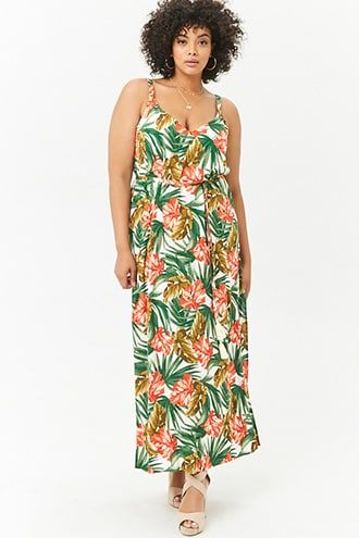 d664d7b647 Plus Size Leaf Print Maxi Dress in 2019