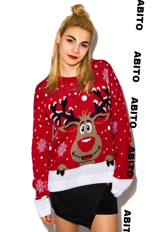 Swiateczny Sweter Z Reniferem Damski Rudolf S M 5821510459 Oficjalne Archiwum Allegro Christmas Sweaters Sweaters Fashion