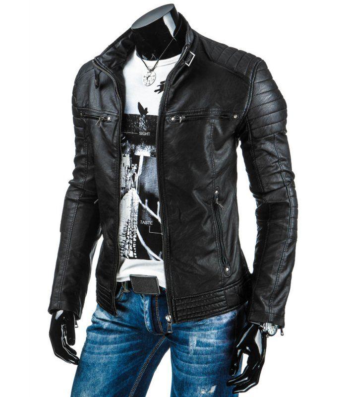 Pánska čierna koženková bunda 055cab07e32