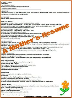 A Mother\u0027s Resume Pinterest Job description