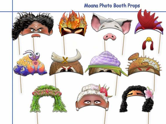 Moana Printable Photo Booth Props Collection Free Element