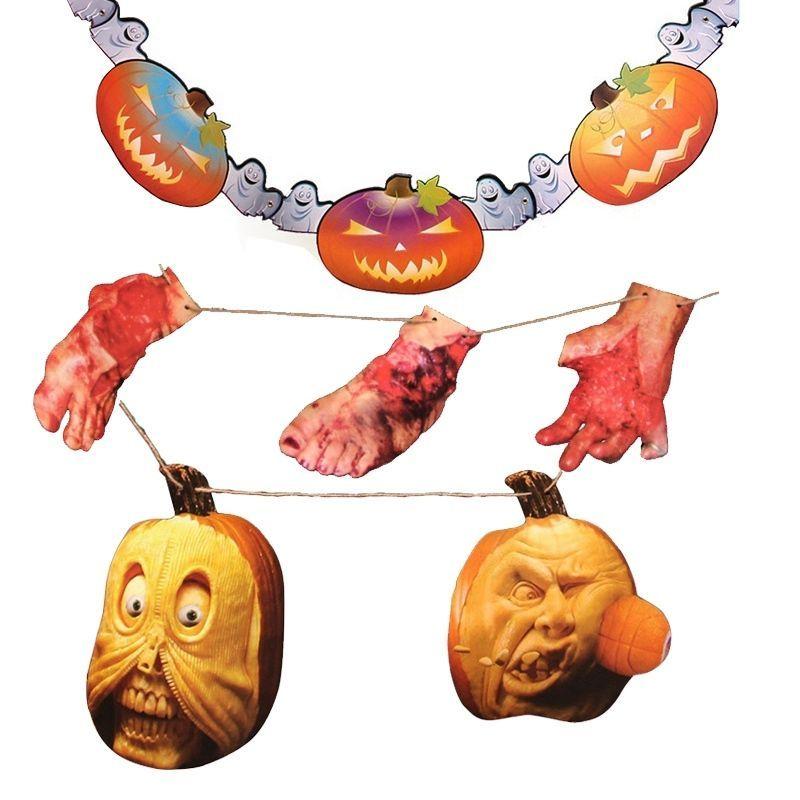 Newest Halloween Paper Festoon Haunted House Spoof Props Hanging