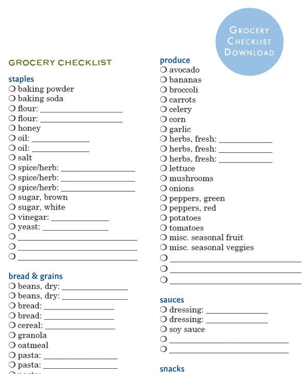 printable grocery list by category - Klisethegreaterchurch