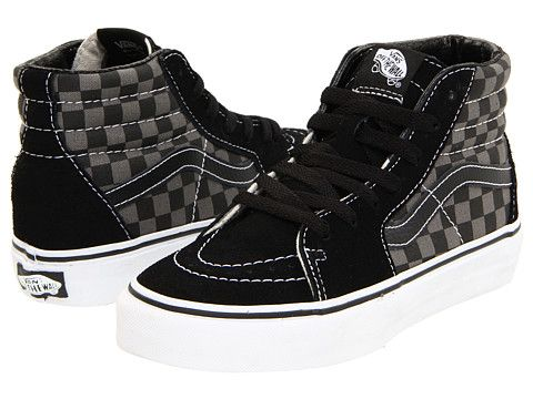 fea70c49e5 Vans Kids SK8-Hi (Little Kid Big Kid) (Checkerboard) Black Pewter -  Zappos.com Free Shipping BOTH Ways