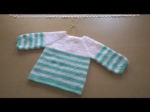 Chambrita, jesey o saquito a crochet 1parte - YouTube