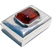 Small Pill Box Sterling Silver Carnelian Glass Gem Mexico 1960.