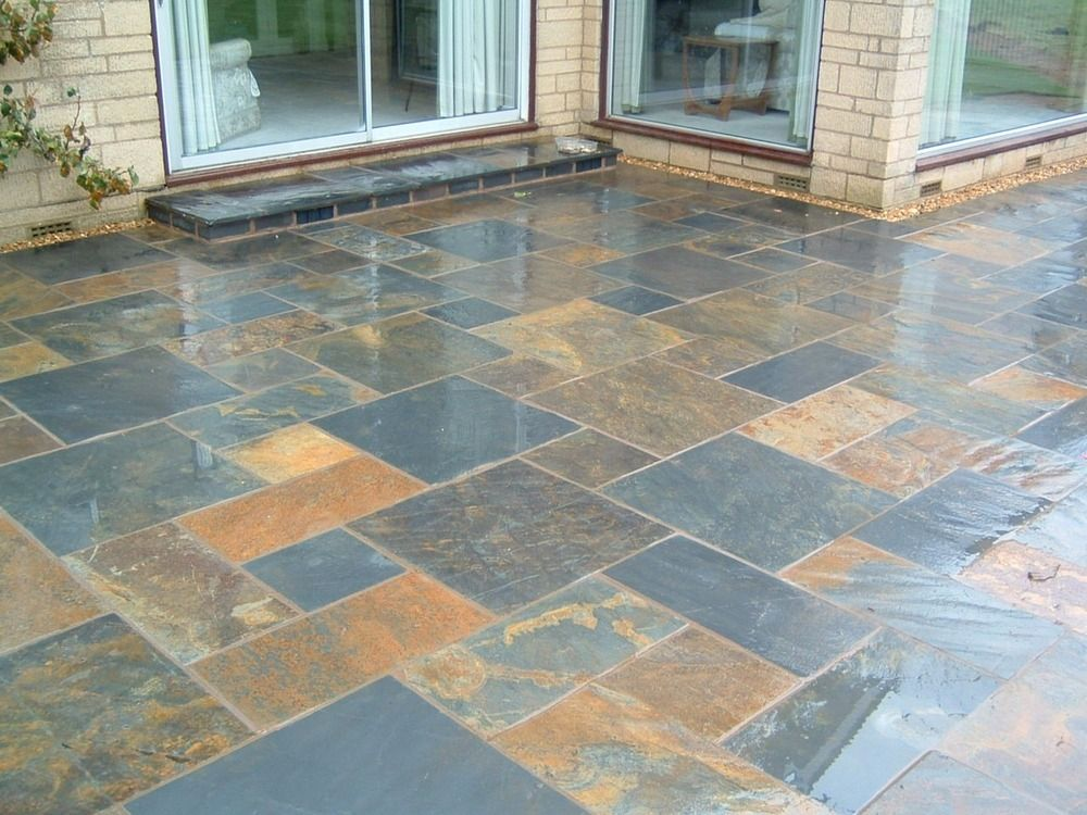 back garden paving assorted tiles