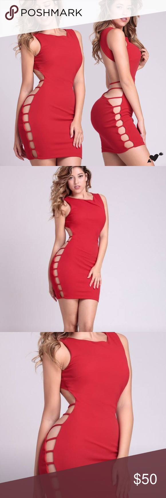 f8d46f4069a RED HOT OPEN BACK BODYCON MINI DRESS Stand out from the crowd with this sexy  little