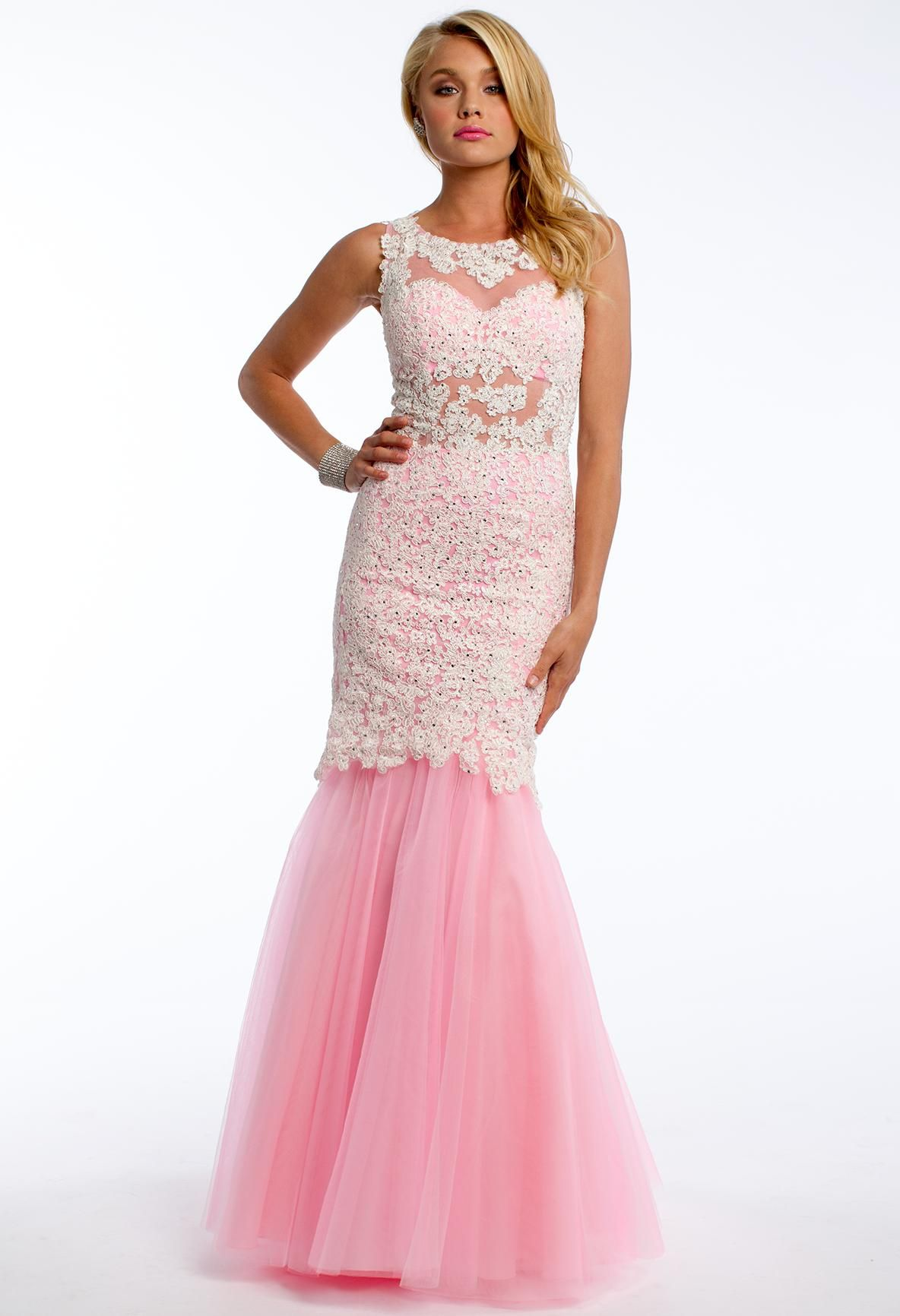 Pink Lace Prom Dress with a Tulle Mermaid Skirt #CLVprom ...