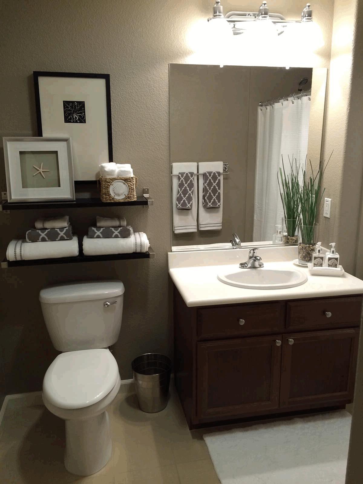 Bathroom Shelves Over Toilet Dark Brown Finish Varnished Wooden