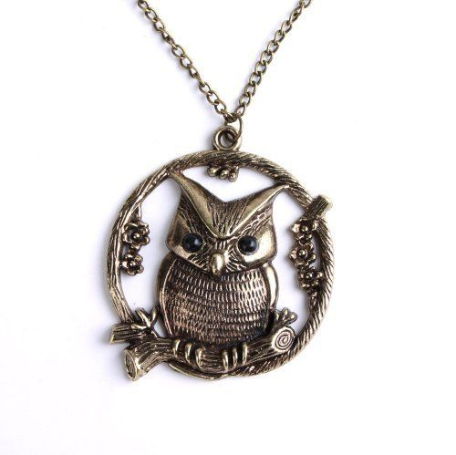 Elegant Lady Copper Plated Metal Necklace Round Owl Lovely Pendant P0970 by Luftballon Mio Craft, http://www.amazon.com/gp/product/B006UCL1MS/ref=cm_sw_r_pi_alp_4MUTqb12BKNNJ