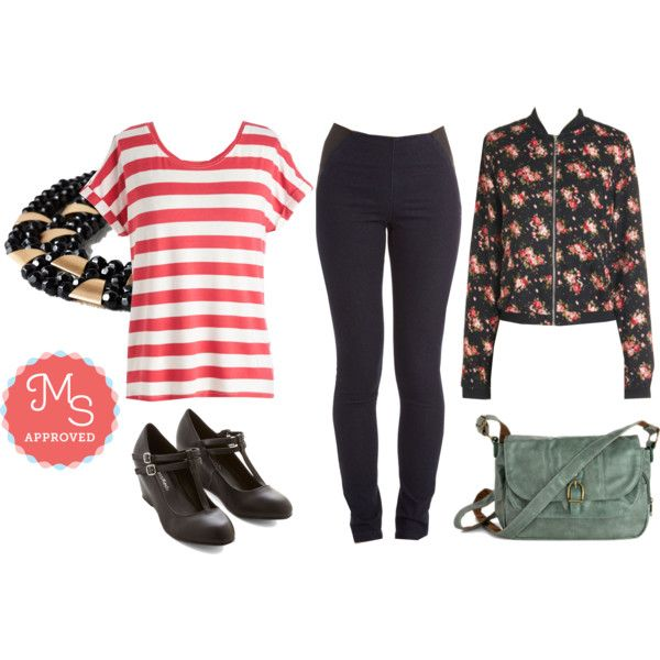 In this outfit: Sleeks for Itself Pants, Breezy Basics Top in Red Stripes, Fleur Your Entertainment Jacket, Put a Bling On It Necklace in Black, Merry to Carry Bag in Sage, Timeless Will Tell Wedge #pants #nautical #floral #wedges #ModCloth #ModStylist #fashion #outfits #ootd #spring #summer #stripes #patterns