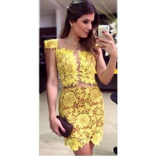 vestido curto amarelo - Pesquisa Google