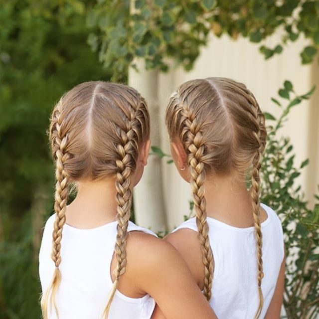 Jehat Hair French Pigtail Braids For The Girls Triathlon On French Plait Hairstyles Sports Hairstyles Plaits Hairstyles
