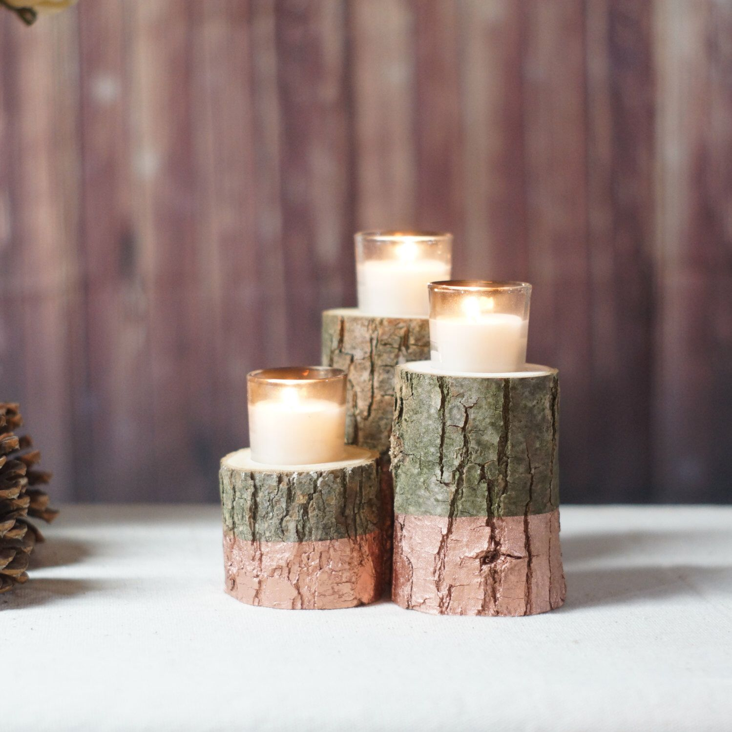 Rose gold dipped candle holder wood rustic