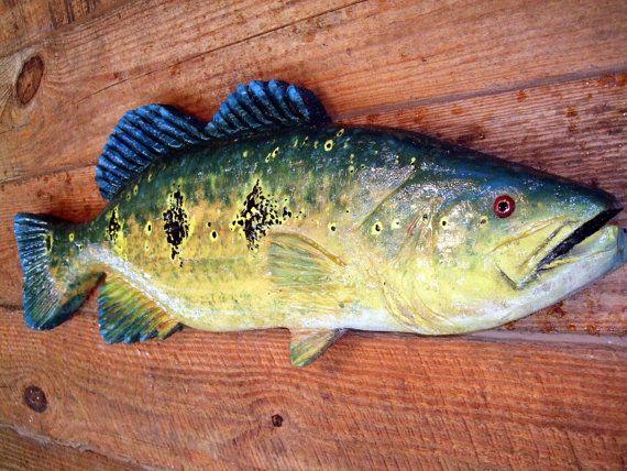 """orinoco peacock bass 28"""" unique chainsaw wooden bass carving, Garten und erstellen"""