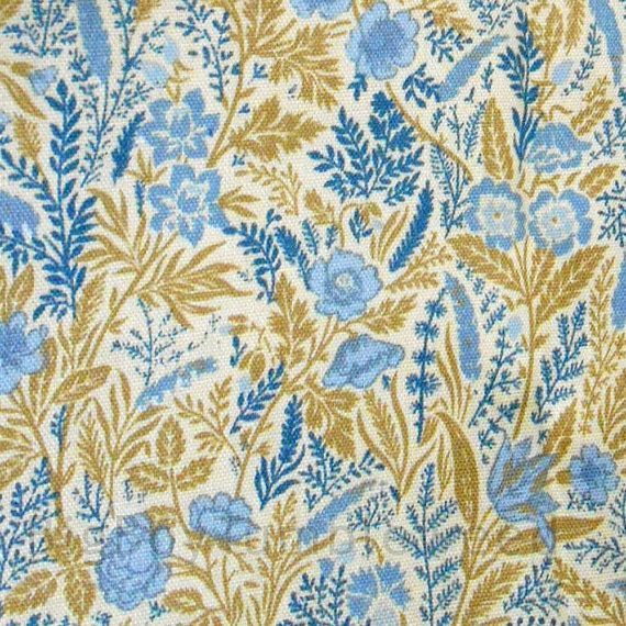 Vintage Wall Covering Fabric Blue Gold Floral By