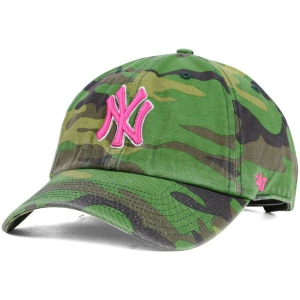 181220a8be9  47 Brand Women s New York Yankees Clean Up Cap featuring polyvore fashion accessories  hats camouflage ball caps pink camo hats 47 brand cap ball caps ball ...