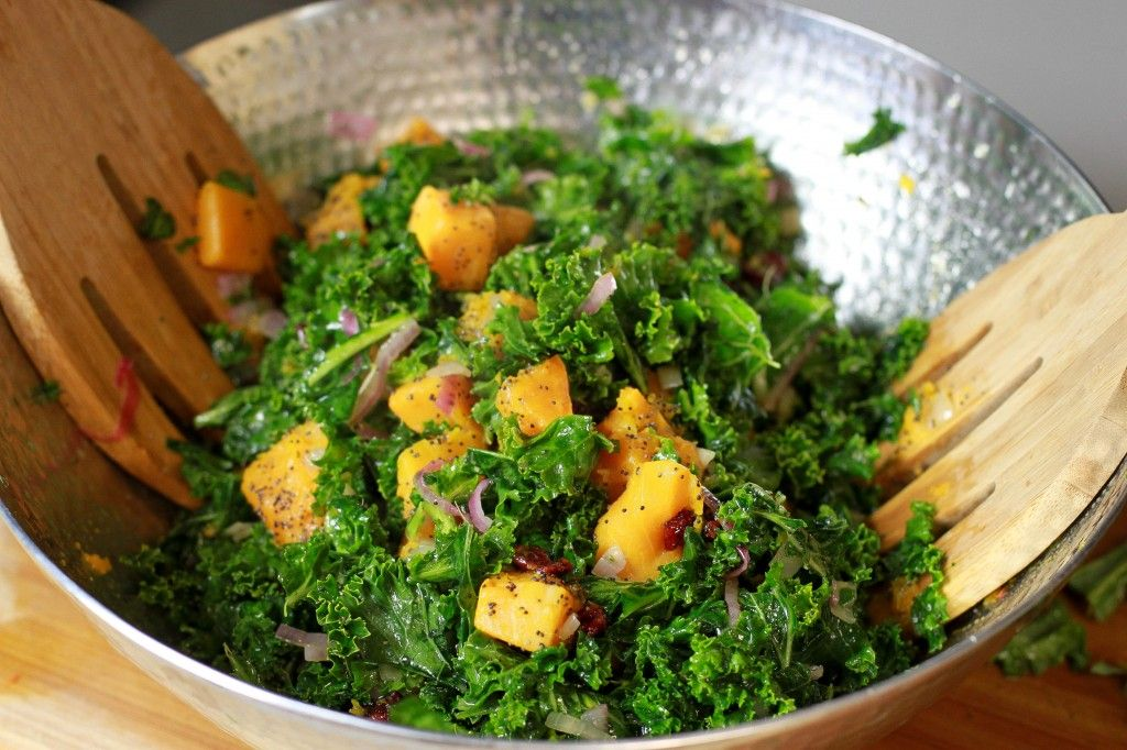 A beautiful Kale & Butternut Squash Salad