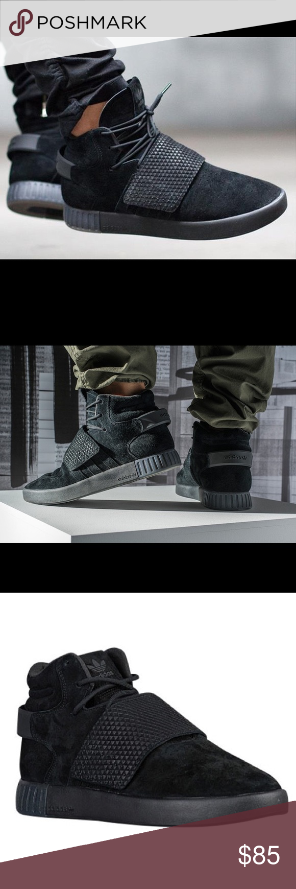 new style 48020 35169 Men s Adidas Tubular Invader Strap Black Suede Men s Adidas Tubular Invader  Strap Black Suede Shoes Size