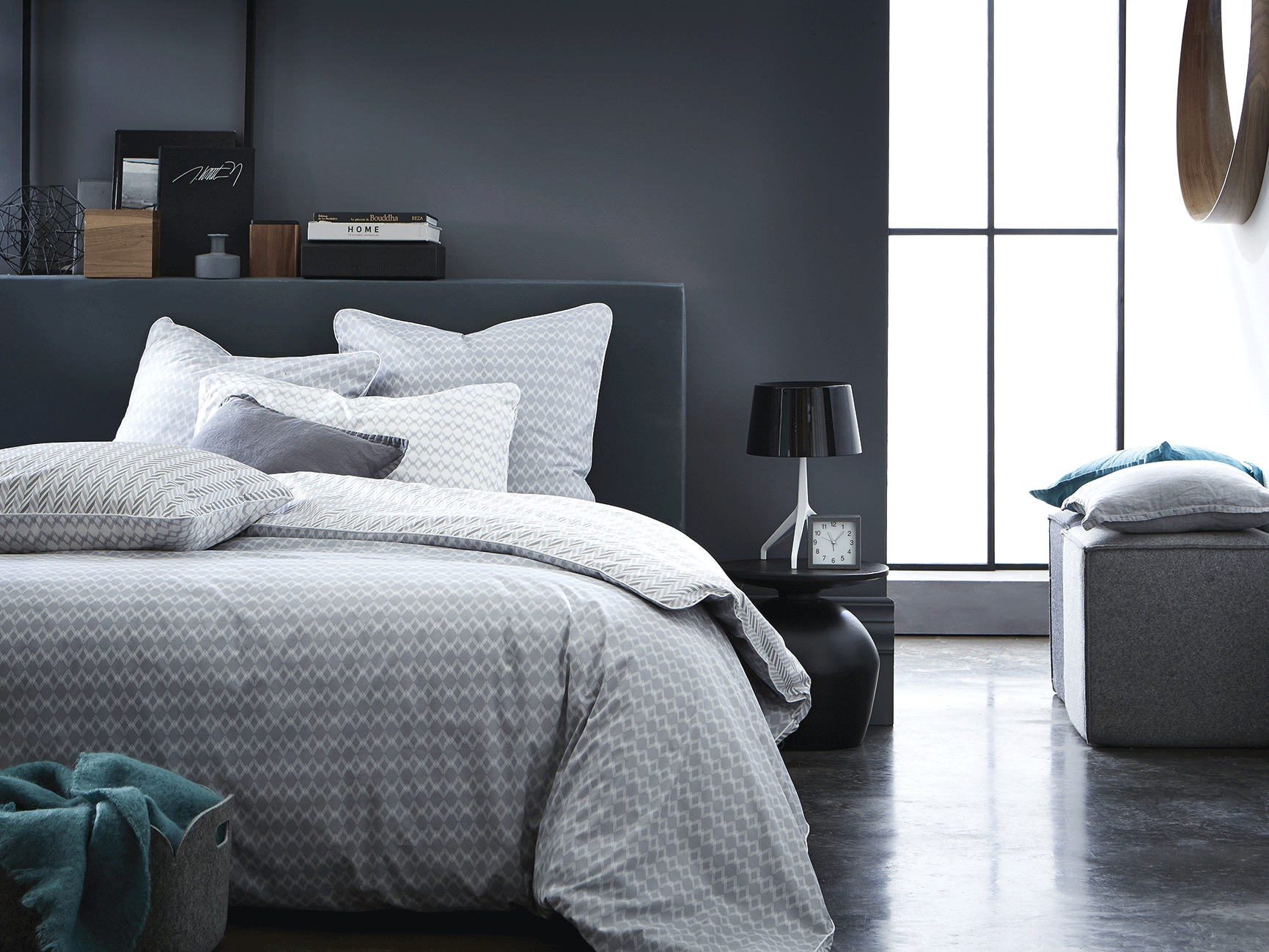 nouvelle parure imprim e vice versa gris et blanc pour une. Black Bedroom Furniture Sets. Home Design Ideas