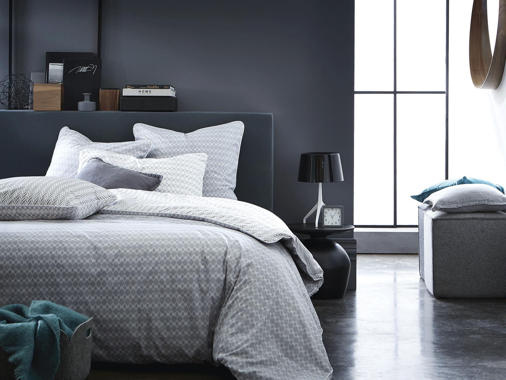 Nouvelle Parure Imprimée Vice Versa Gris Et Blanc Pour Une Chambre - Parure de lit design chic
