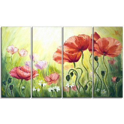 DesignArt Poppies in Morning Floral 4 Piece Painting Print on Wrapped Canvas Set