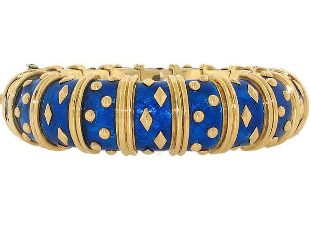 Schlumberger Blue Enamel Bangle Bracel 503741