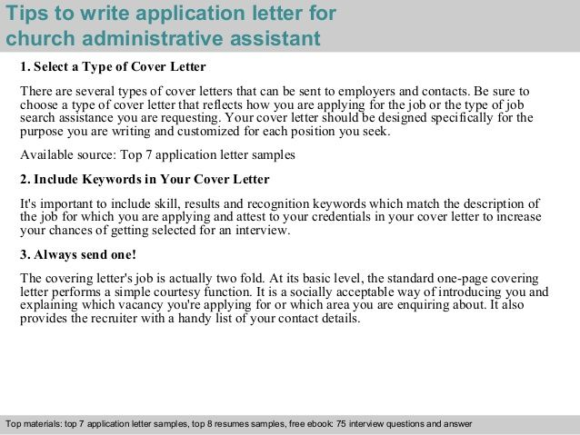 Tips Write Application Letter For Church Administrative Assistant