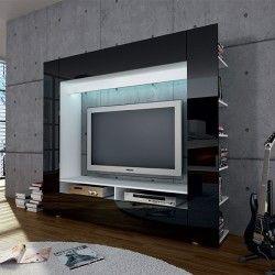 Ensemble Meuble Tv Design Laqué Noir Olli Msuble Tv