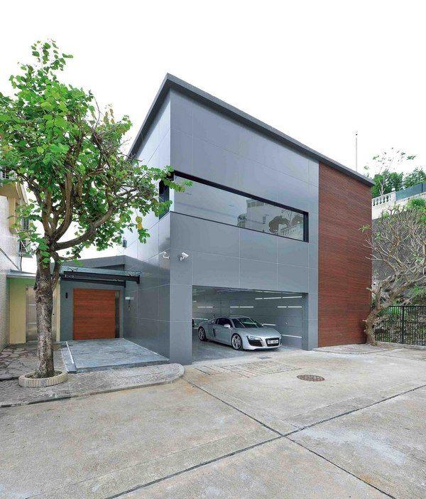 façade garage et entrée - construction écologique par Millimeter
