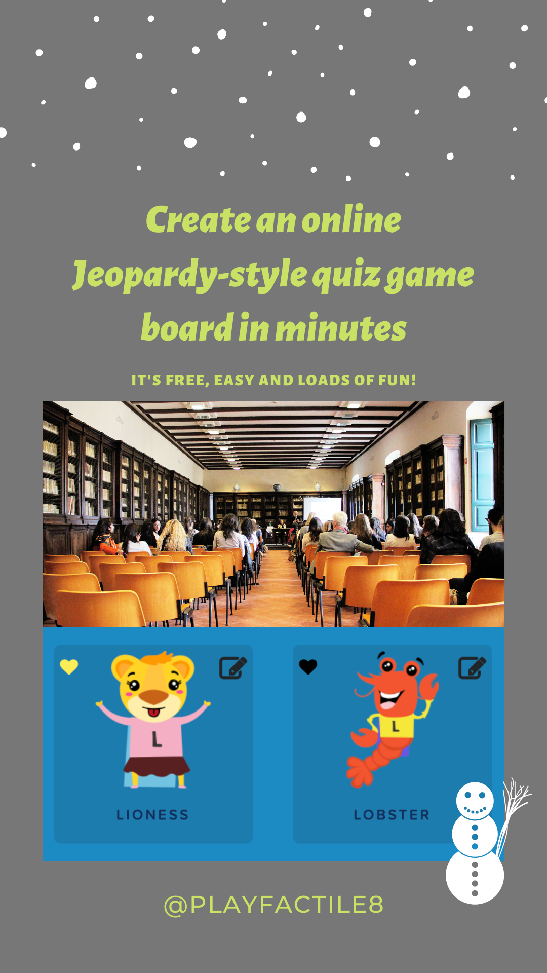 Create an online Jeopardystyle quiz game board in