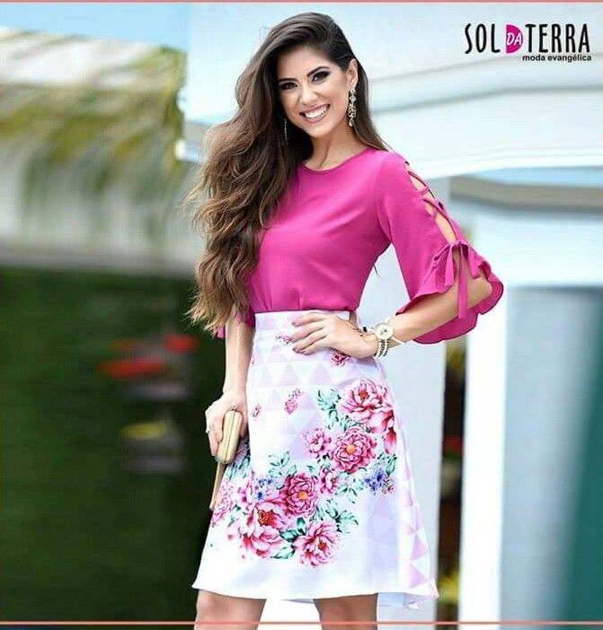 Blusa 02290 Clssica Moda Evanglica Sleeves and designs in 6cce5d6c286a4