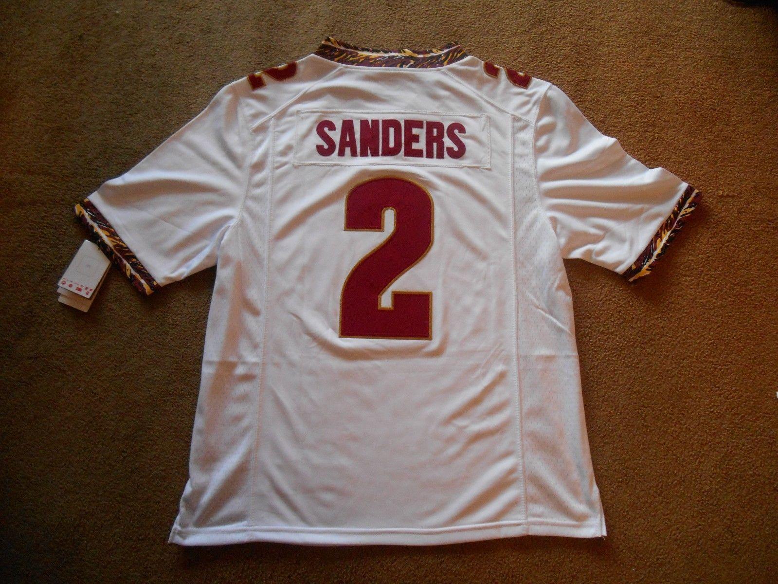 Deion Sanders #2 NCAA FSU Seminoles STITCH White Football Jersey Men M TAGS NEW!
