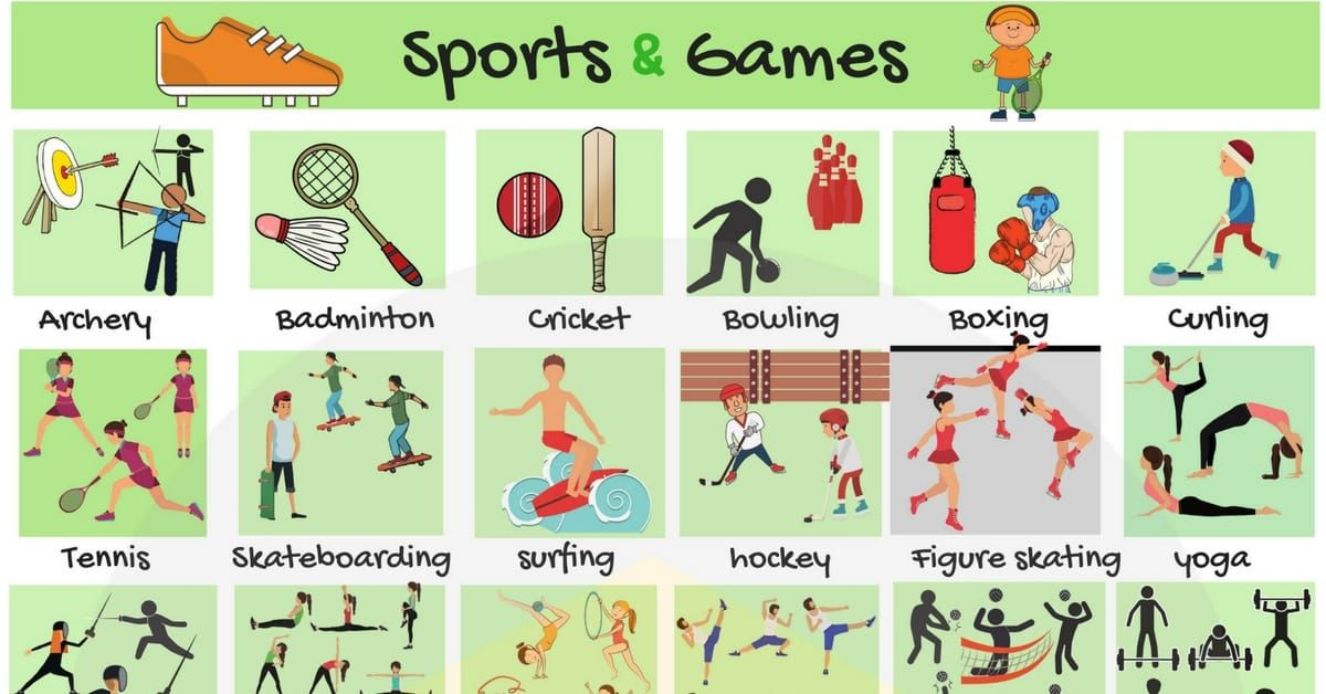 List Of Sports And Games Useful Sports List With Pictures And Examples In English When It Comes To In 2020 English Vocabulary Learn English Vocabulary Learn English