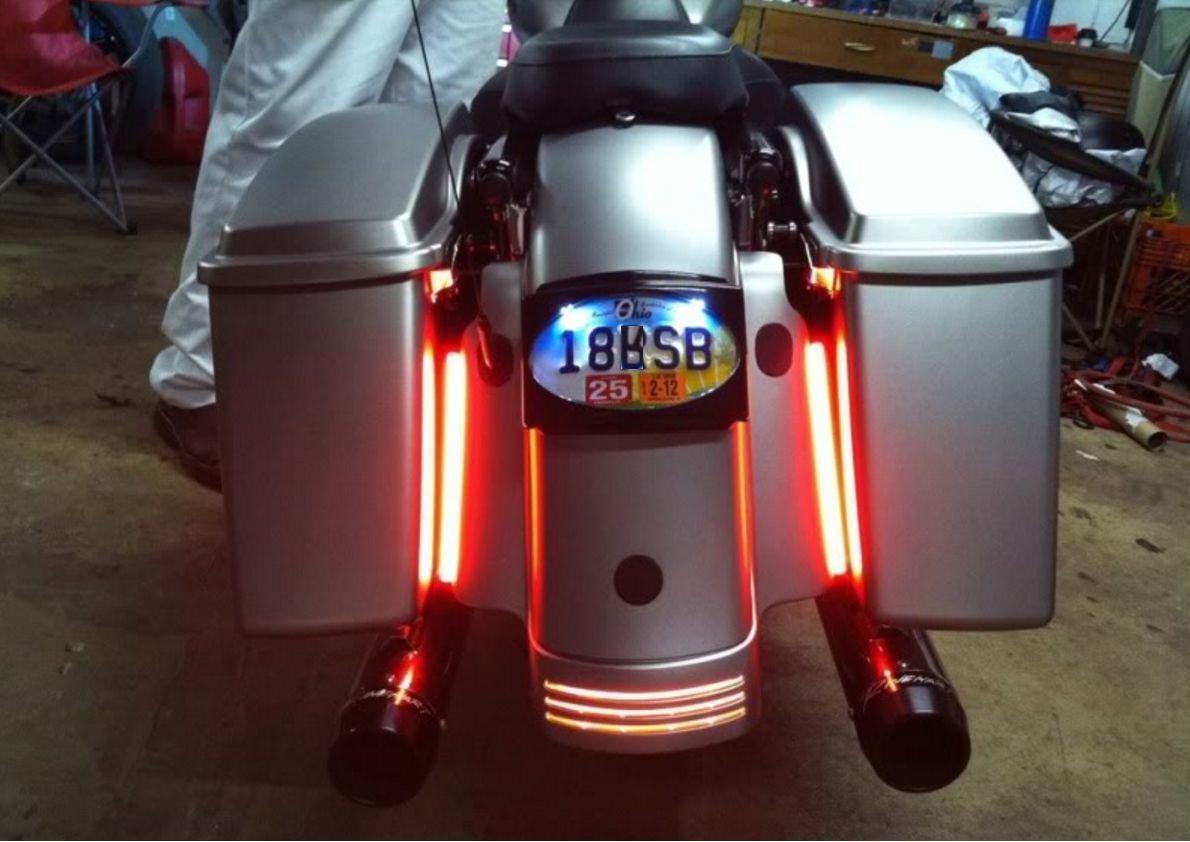 2x Harley Davidson Led Integrated Fender Brake Tail Light Turn Signal Bar Light Turn Signal Tail Brake Davidson Integr Tail Light Red Led Red Motorcycle