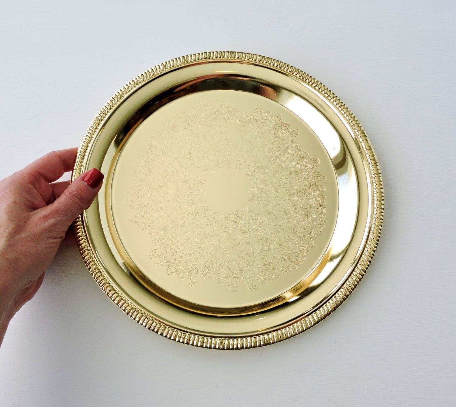 Vintage Round Gold Tray by Davco Silver, Engraved Serving Tray, Gold ...