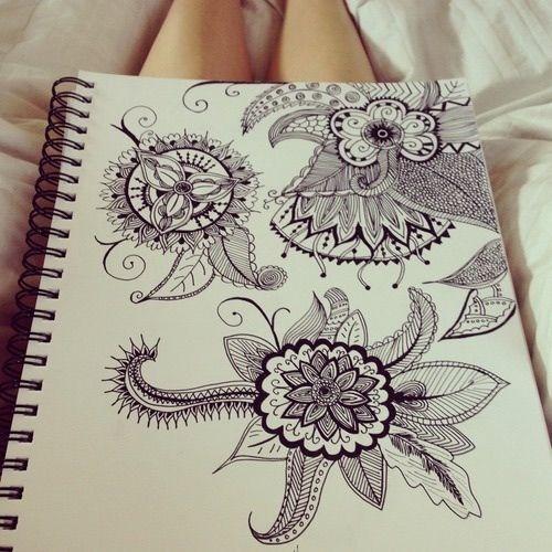 Image via We Heart It #art #beautiful #cool #dibujo #drawing #floral #girly #quality #sketchbook #tribal #zentangle