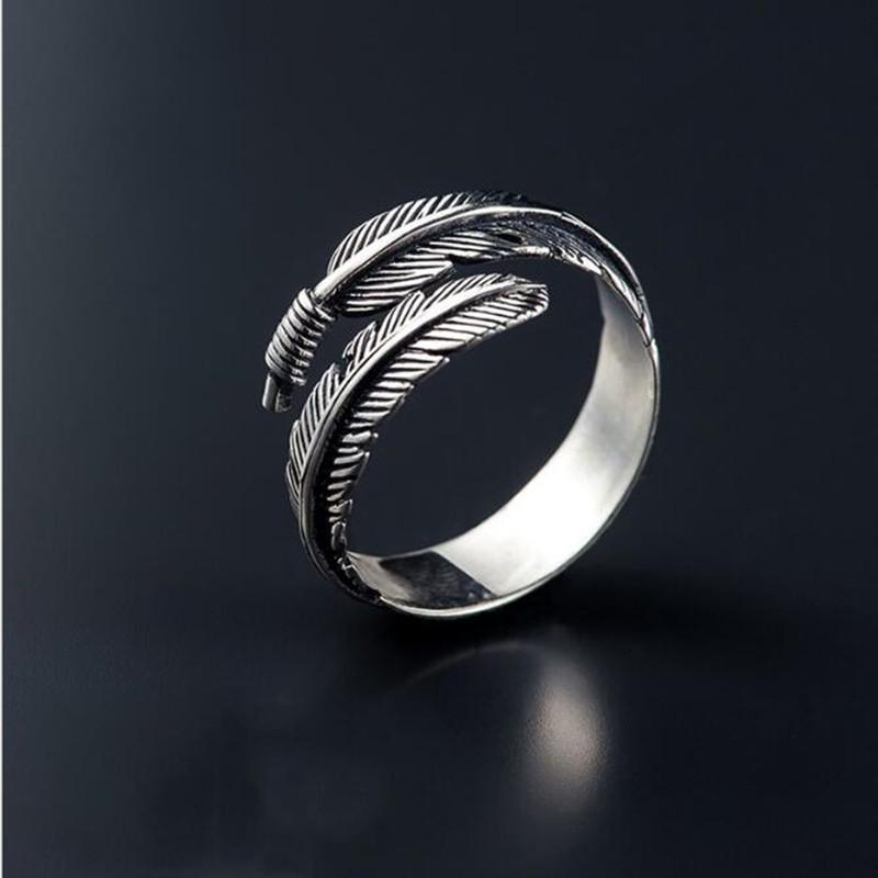 'Sterling Silver Feather Motif Band Ring d3gHGnMr