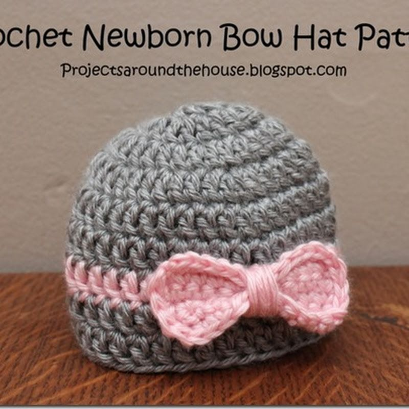 b200433d2 Projects Around the House  Crochet Newborn Bow Hat Pattern
